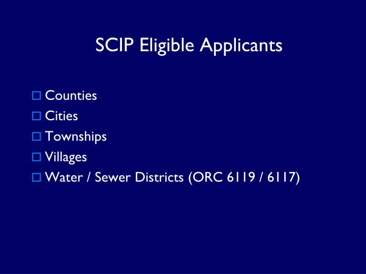 SCIP Eligible Applicants
