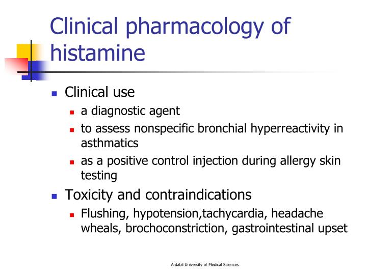 Clinical pharmacology of histamine