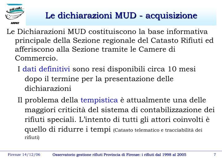 Le dichiarazioni MUD - acquisizione