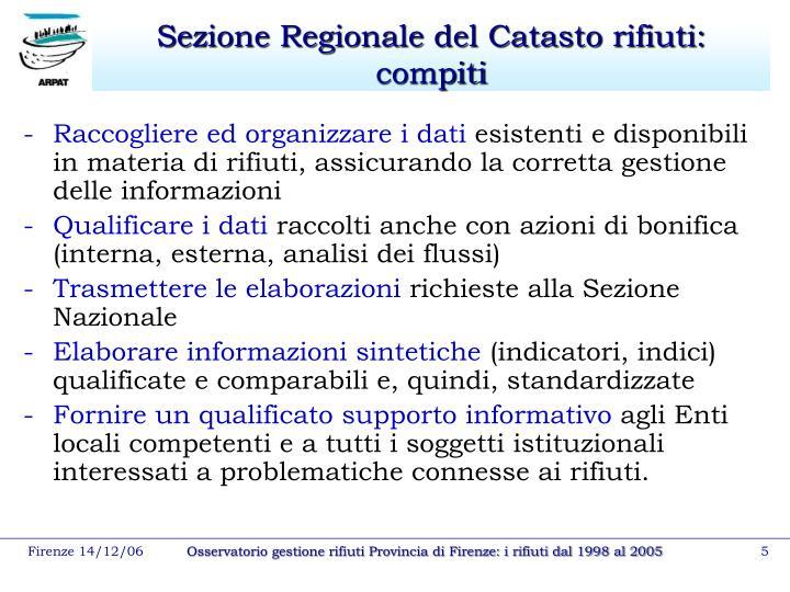 Sezione Regionale del Catasto rifiuti: compiti