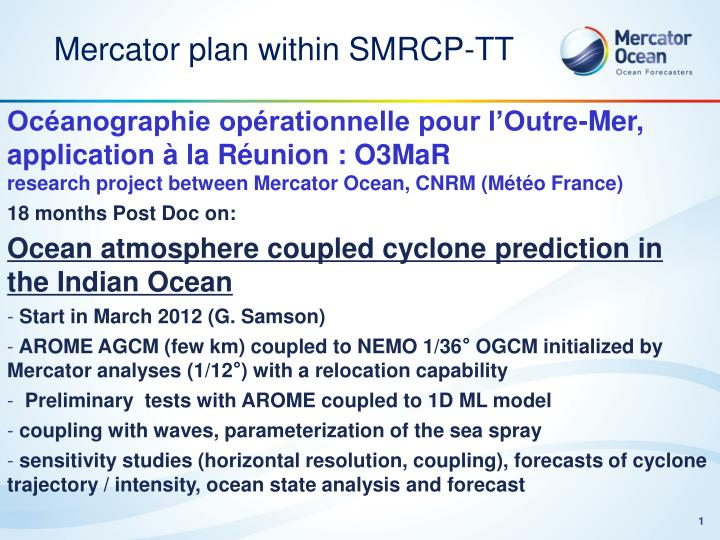 Mercator plan within SMRCP-TT