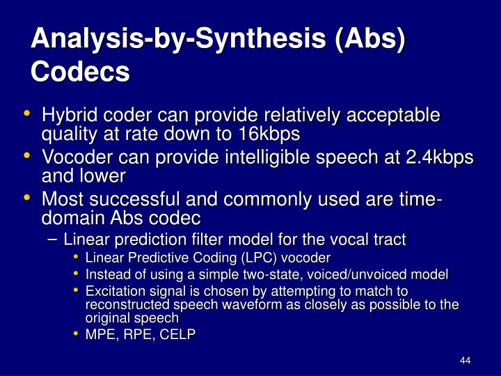 Analysis-by-Synthesis (Abs) Codecs