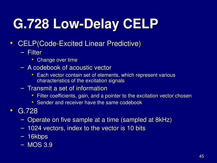 G.728 Low-Delay CELP