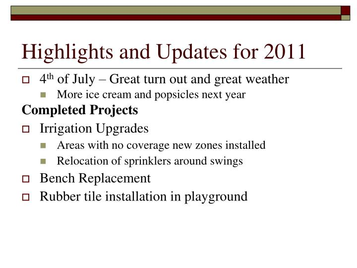 Highlights and Updates for 2011