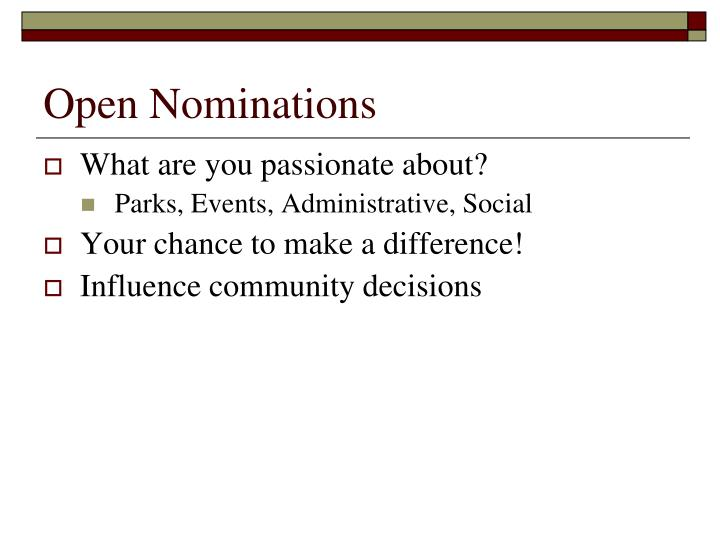 Open Nominations