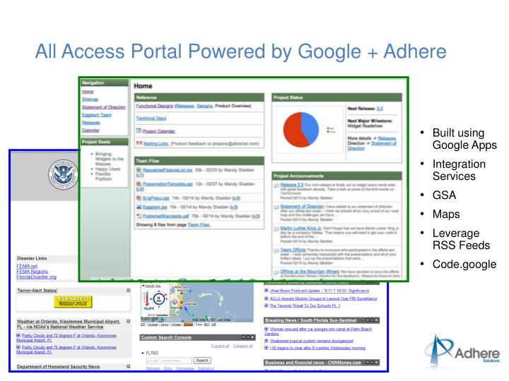 All Access Portal Powered by Google + Adhere