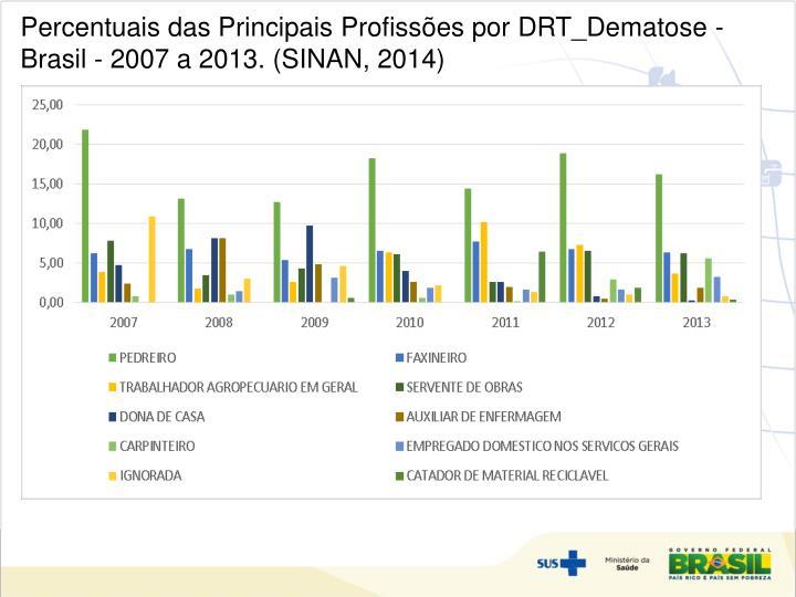 Percentuais das Principais Profissões por