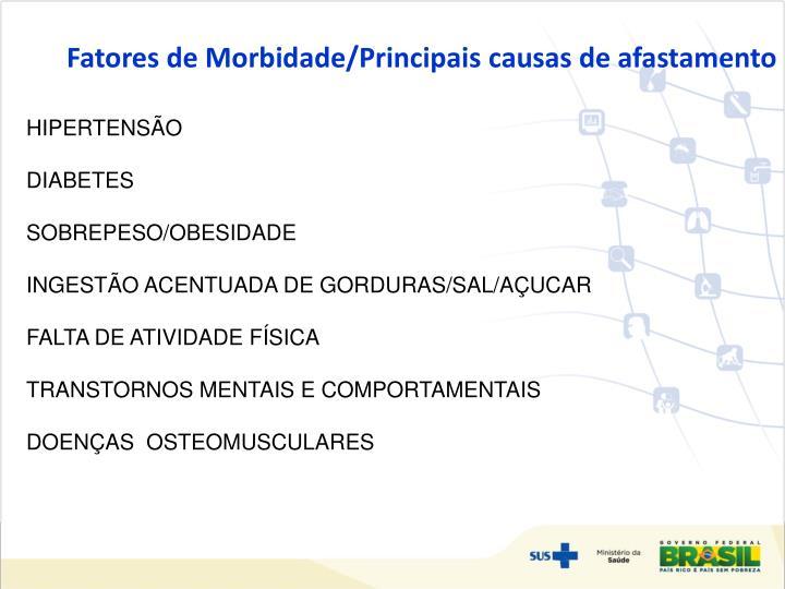 Fatores de Morbidade/Principais causas de afastamento