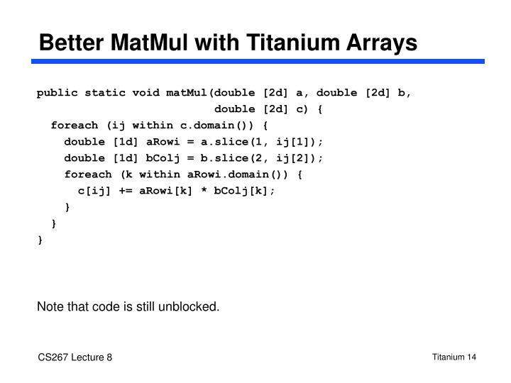 Better MatMul with Titanium Arrays