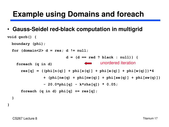 Example using Domains and foreach