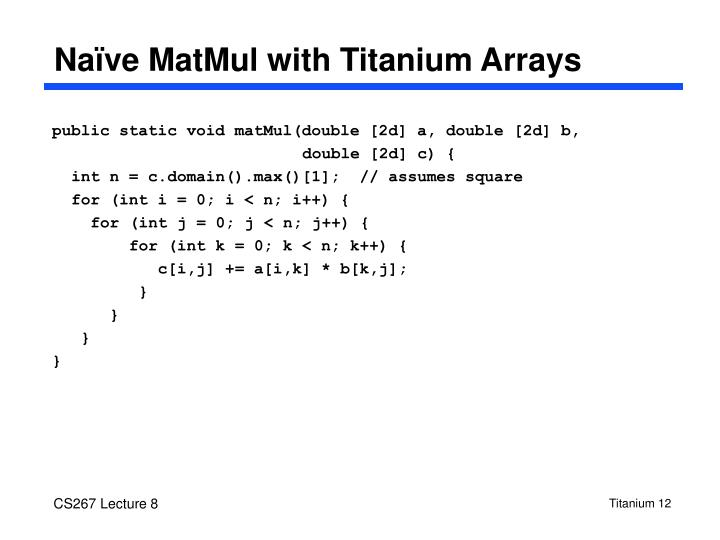 Naïve MatMul with Titanium Arrays