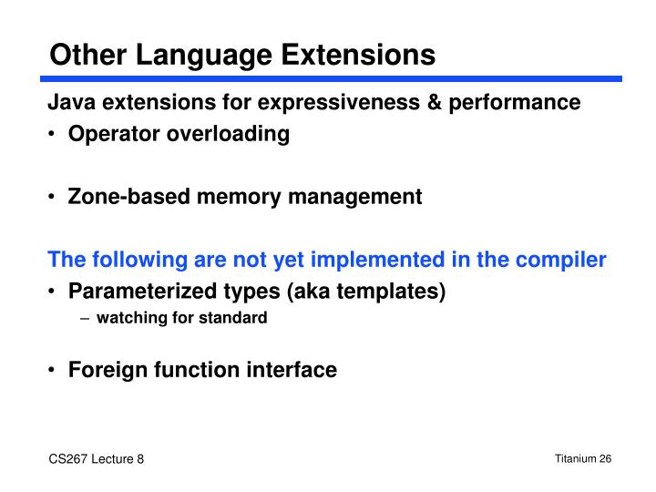 Other Language Extensions