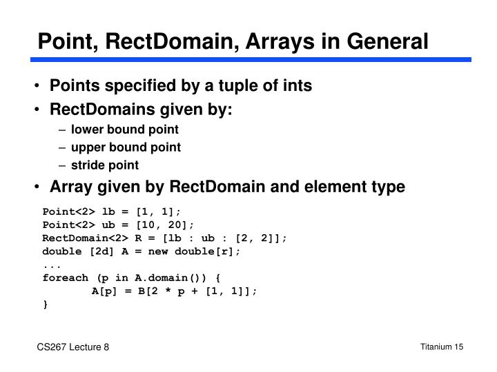 Point, RectDomain, Arrays in General