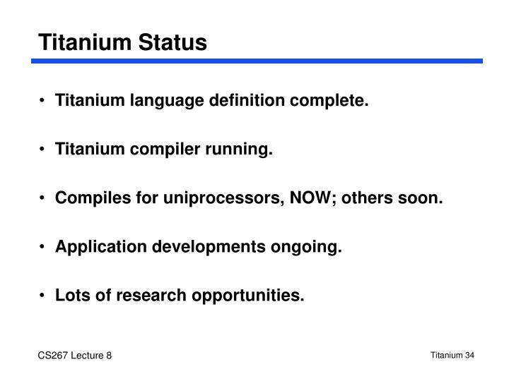Titanium Status
