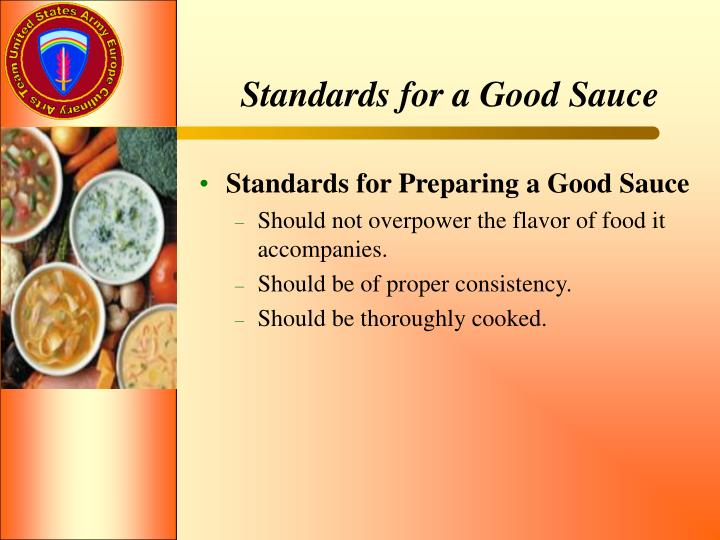 Standards for a Good Sauce