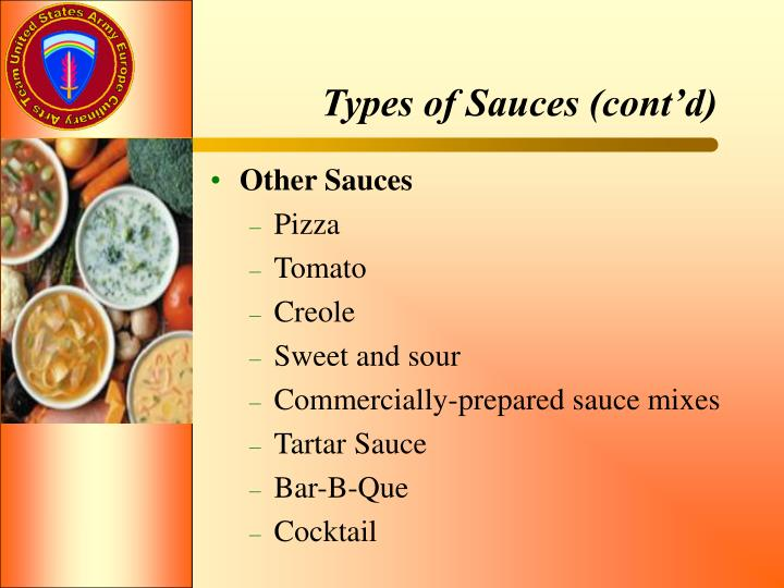 Types of Sauces (cont'd)