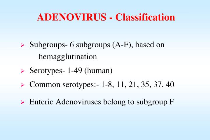 ADENOVIRUS - Classification