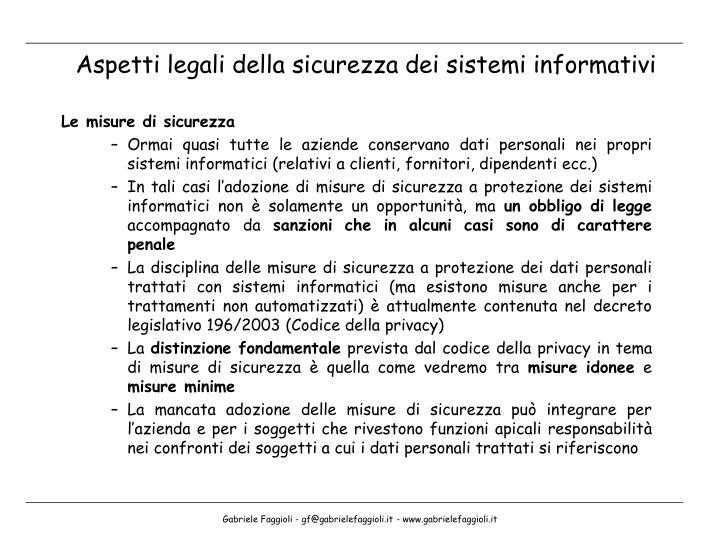 Aspetti legali della sicurezza dei sistemi informativi