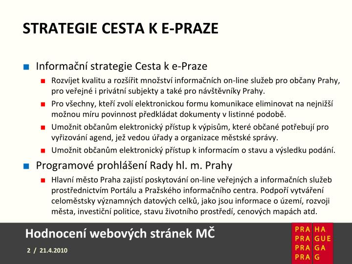 Strategie cesta k e-Praze