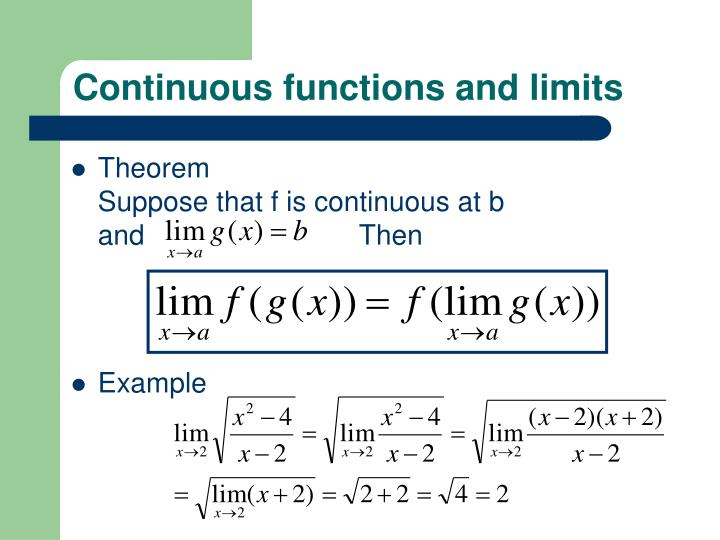 Continuous functions and limits