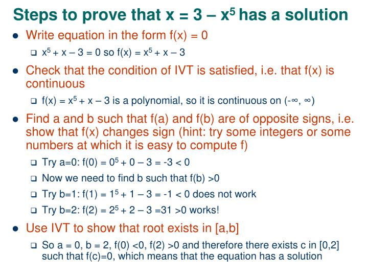 Steps to prove that x = 3 – x