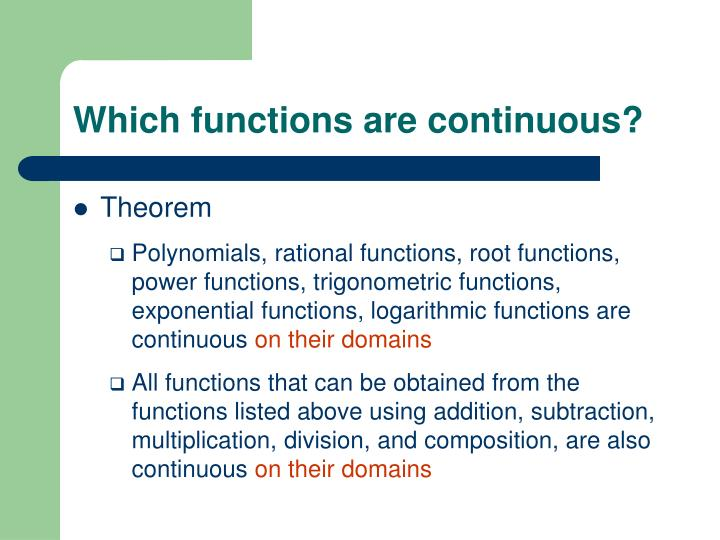 Which functions are continuous?