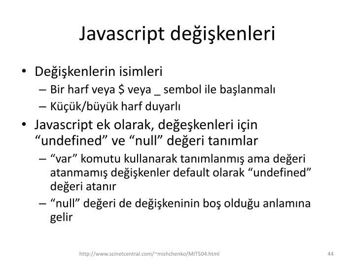 Javascript değişkenleri