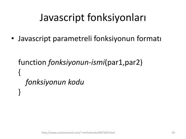 Javascript fonksiyonları