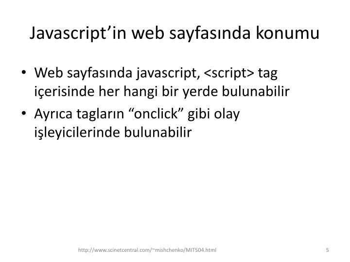 Javascript'in web sayfasında konumu