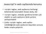 javascript in web sayfas nda konumu1