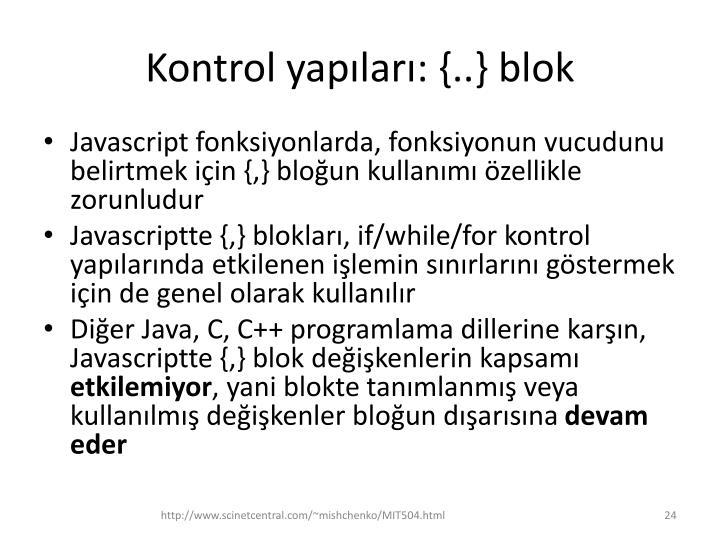 Kontrol yapıları: