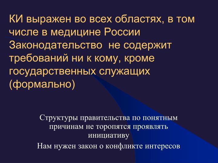 КИ выражен во всех областях, в том числе в медицине России