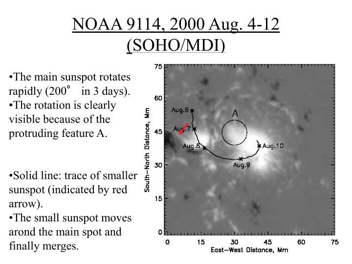 NOAA 9114, 2000 Aug. 4-12 (SOHO/MDI)