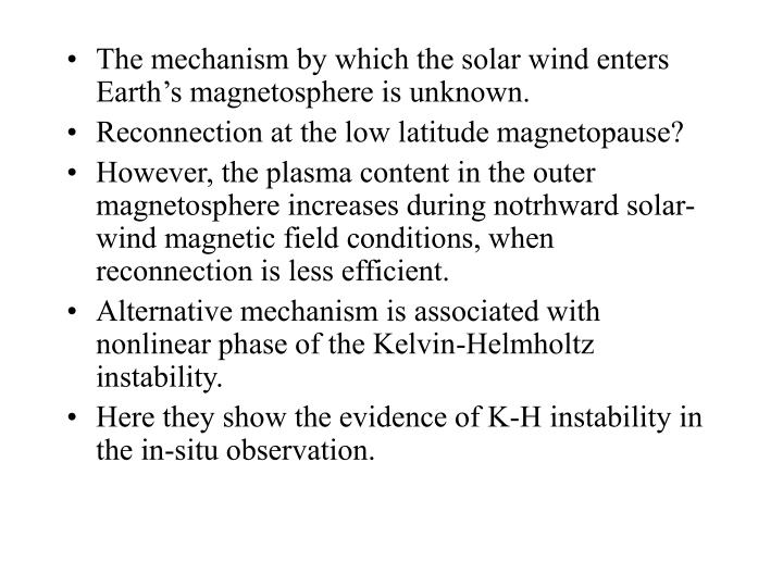 The mechanism by which the solar wind enters Earth's magnetosphere is unknown.