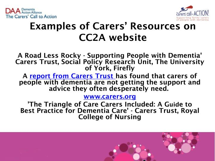 Examples of Carers' Resources on CC2A website