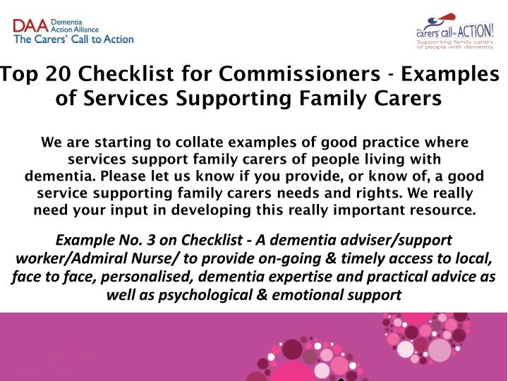 Top 20 Checklist for Commissioners - Examples of Services Supporting Family Carers