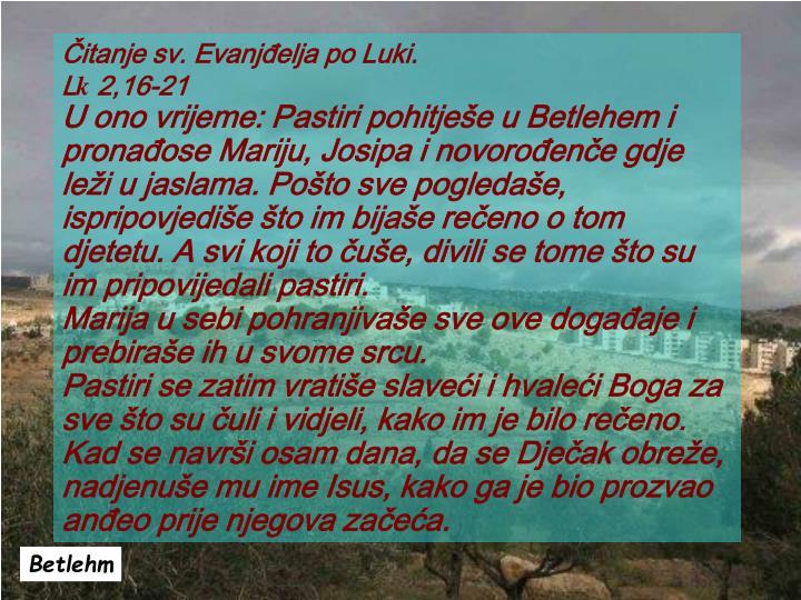 Čitanje sv. Evanjđelja po Luki.