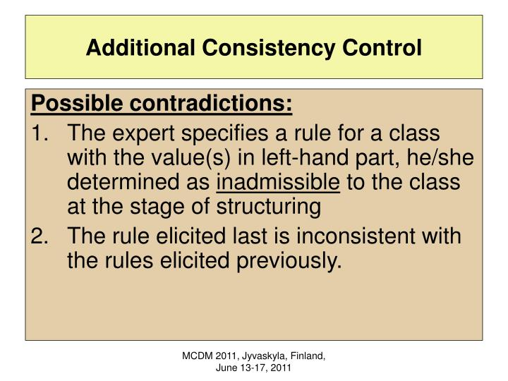 Additional Consistency Control
