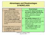 advantages and disadvantages of norclass