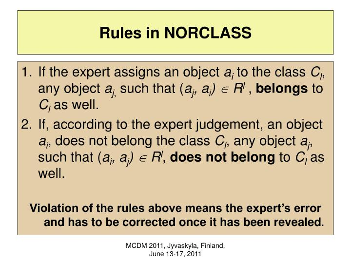 Rules in NORCLASS