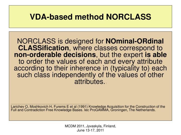 VDA-based method NORCLASS