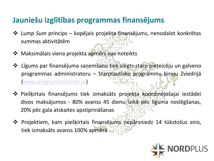 Jauniešu izglītības programmas finansējums