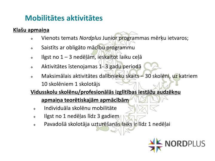Mobilitātes aktivitātes