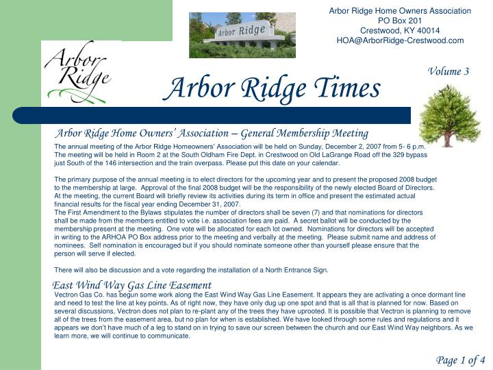 Arbor Ridge Home Owners Association