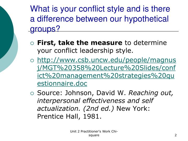 What is your conflict style and is there a difference between our hypothetical groups
