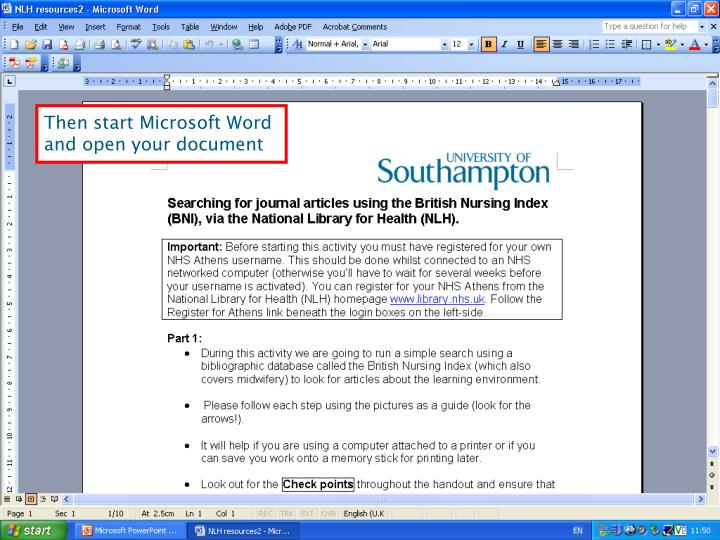 Then start Microsoft Word and open your document