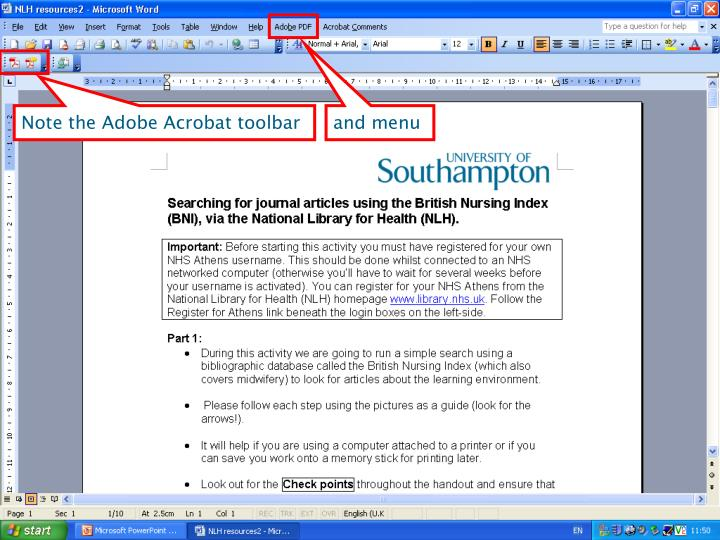 Note the Adobe Acrobat toolbar