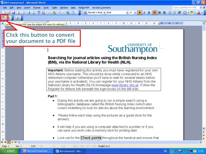 Click this button to convert your document to a PDF file