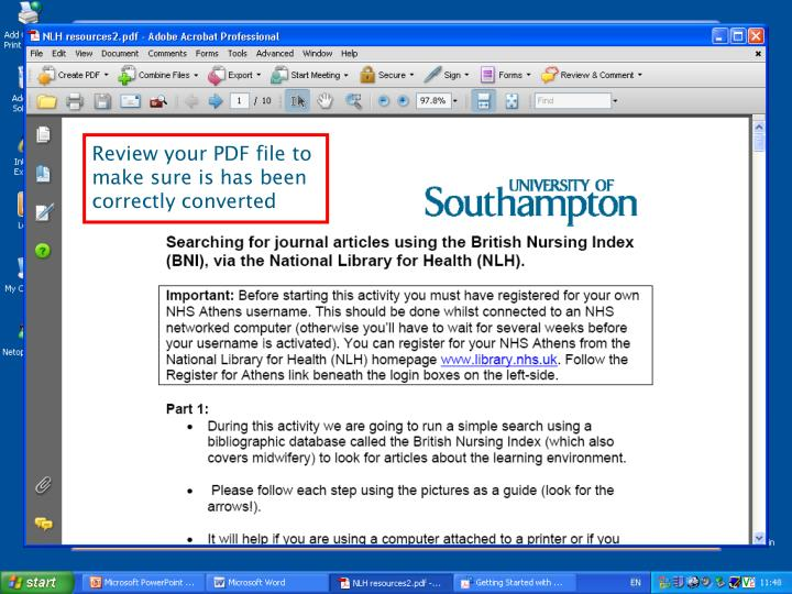 Review your PDF file to make sure is has been correctly converted