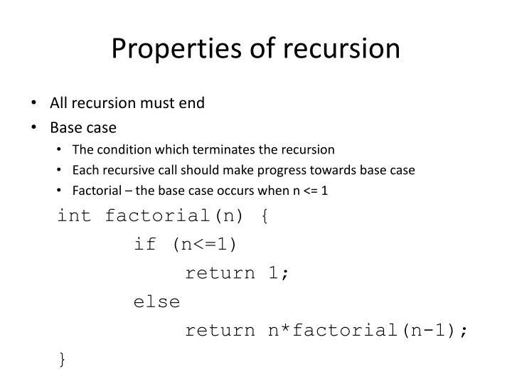Properties of recursion